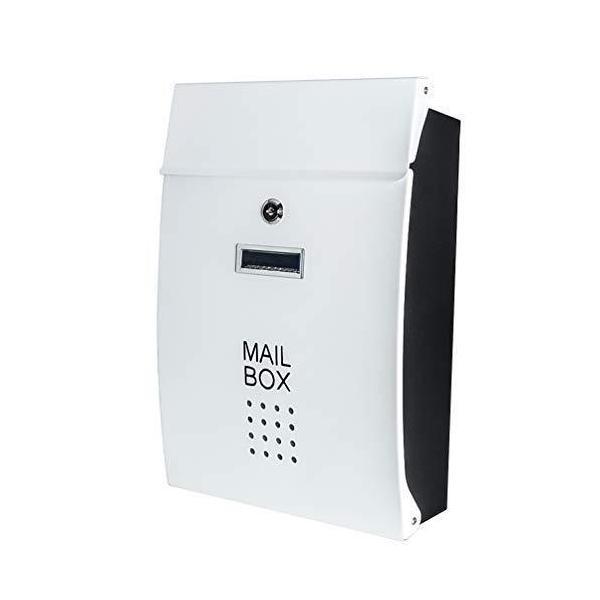 Jssmst(ジェスマット) メールボックス 郵便受け ポスト 北欧風 壁掛け キーロック式 大容量 HPB005-白(ホワイト)