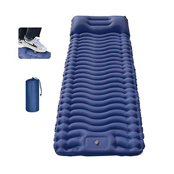 エアマット キャンプマット 折畳み 幅広75cm エア-マット 防災 エアーマット 連結可能 寝袋 テント 軽量 枕付き コンパクト 防水 収納袋付き