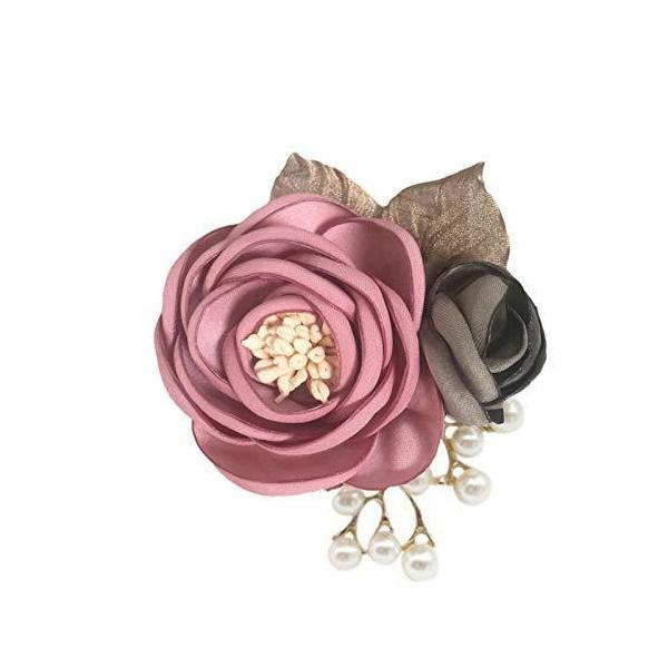 FuliLie コサージュ 花 パール 結婚式 卒業式 入学式 フォーマル パーティ ブローチ (ピンク)