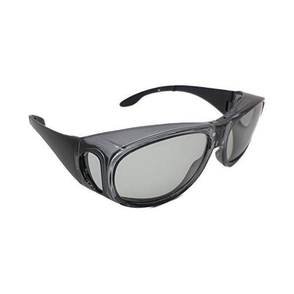 折りたたみ式 オーバーグラス サングラス めがねの上から 偏光 メンズ UVカット 携帯ケース付き 6725 (スケルトンダークグレー)
