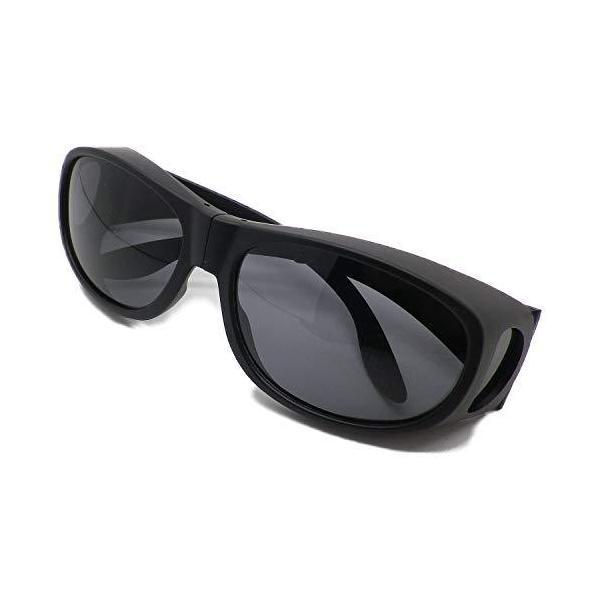 折りたたみ式 オーバーグラス サングラス めがねの上から 偏光 メンズ UVカット 携帯ケース付き 6725 (マットブラック)