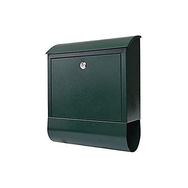 life_mart 郵便ポスト メールボックス 郵便受け 新聞受け 壁掛け 鍵付き 玄関 大容量 ガーデン (グリーン)
