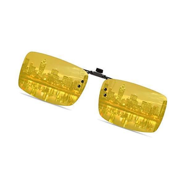 クリップオン サングラス めがねの上から 偏光サングラス 偏光 跳ね上げ 前掛け式 偏光レンズ (黄色1)