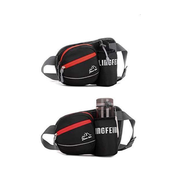 ランニング ポーチ ウエスト バッグ 大容量 防水 軽量 水筒ポーチ付 ウォーキング スマホ ホルダー ボディバッグ ジョギング ウエストポーチ 黒