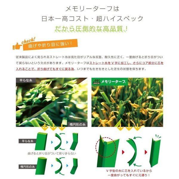 【 Memory Turf メモリーターフ 】形状記憶 リアル 人工芝ロール 2m × 5m ベランダ 庭 高品質 日本製YT-P228|doanosoto|04