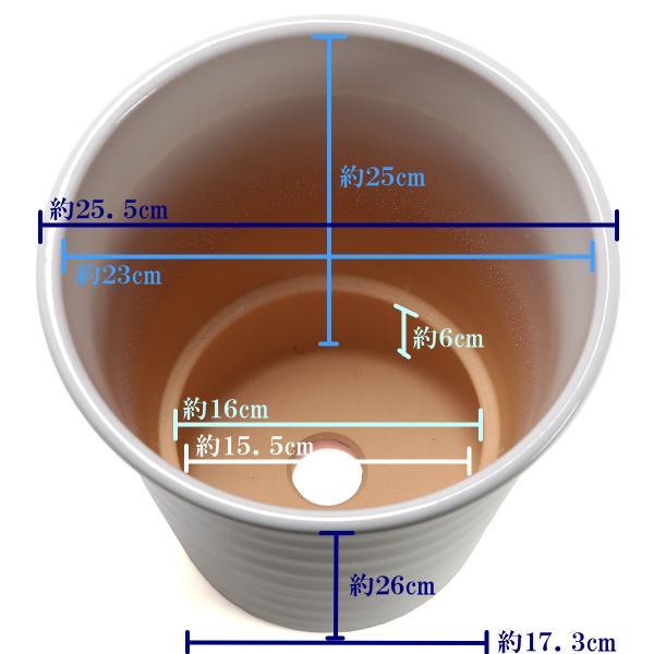 植木鉢 陶器 おしゃれ サイズ 25.5cm 安くて丈夫 フラワーロード 白釉 8号|docchan|03