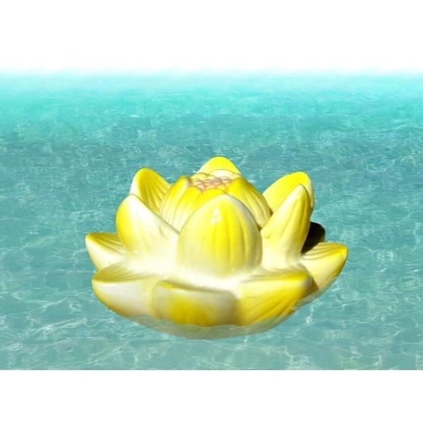 水に浮かぶ陶器 フロート 蓮の花 黄色