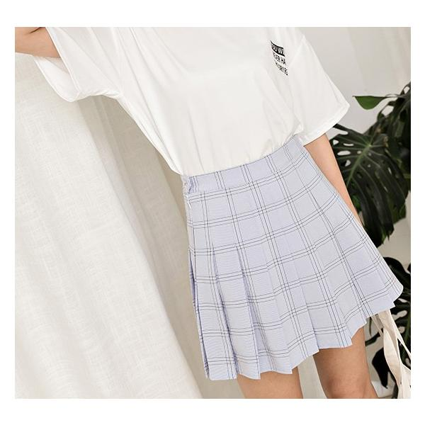プリーツスカート レディース 韓国ファッション チェック柄 キュロット オルチャン テニススカート 制服風|dokuichigo|05