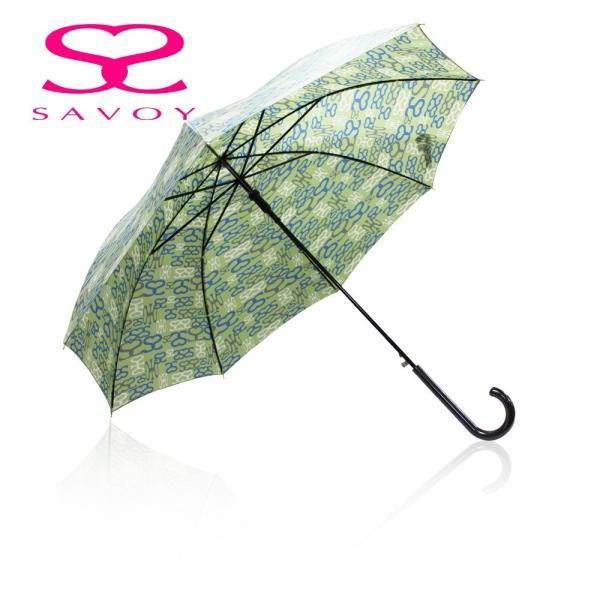 SALE サボイSAVOY31-6041サボイロゴプリント60cmジャンプ傘ロゴ傘グリーン
