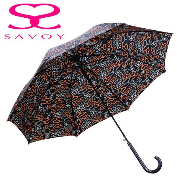 SALE サボイSAVOY31-6041サボイロゴプリントオレンジ×ブラック60cmジャンプ傘ロゴ