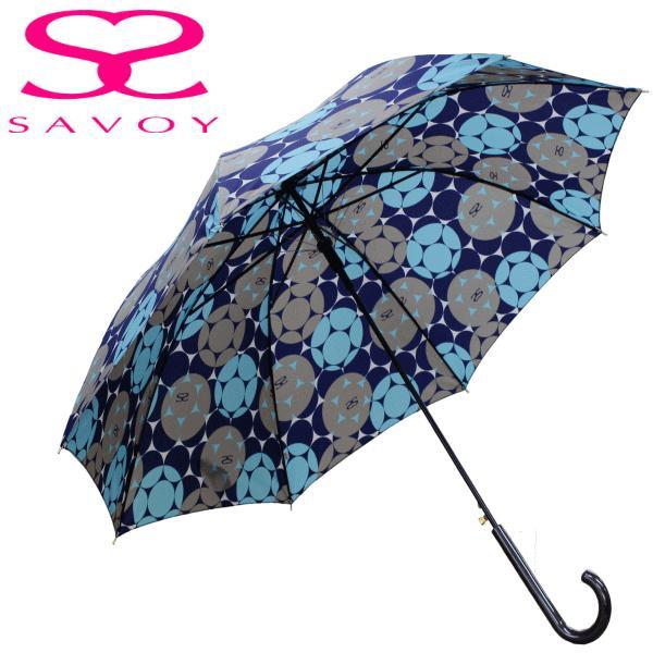 SALE サボイSAVOY31-6042バルーンプリント60cmジャンプ傘ロゴ傘ネイビー×ブルー