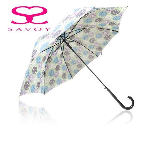 SALE サボイSAVOY31-6047バルーンベアプリント60cmジャンプ傘クマくま柄傘グリーン*パープル