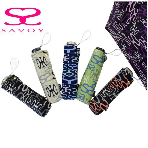 SALE サボイSAVOY折り畳み傘62-507650cm50センチグラフィックロゴ柄ミニプレゼントにおすすめレディース