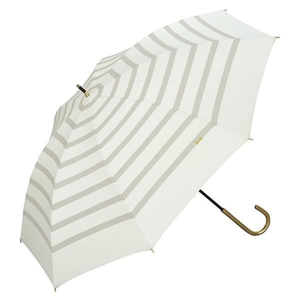 w.p.c ワールドパーティー 日傘 晴雨兼用 遮光 遮熱 リボンボーダー オフホワイト 50cm 81-2039 (レディース 雨具 おしゃれ 完全遮光 PU加工)