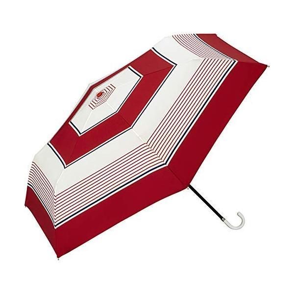 w.p.c ワールドパーティー 雨傘 折りたたみ傘 レッド 50cm レディース 傘袋付き クラシックボーダー ミニ 8925-019 RD (雨具 おしゃれ 折り畳み傘)