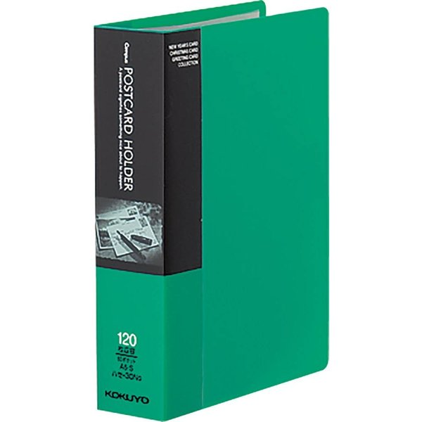 KOKUYO コクヨ ファイル ポストカードホルダー 固定式 A6 60ポケット 最大120枚収容 緑 ハセ-30NG