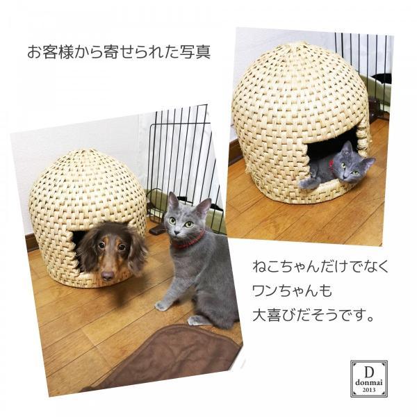 猫ちぐら キャットハウス 稲わら編み 中|donmai|05