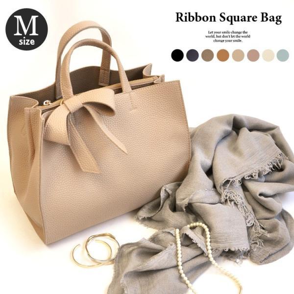 トートバッグ ショルダーバッグ レディース リボンバッグ 2way ママバッグ かばん 鞄 リボン スクエア バッグ ドノバン|donoban-mens