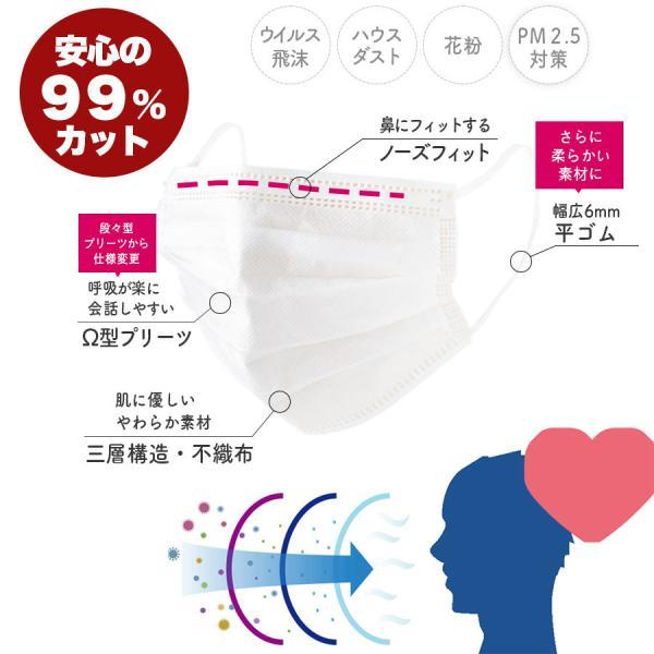 6mm平ゴム マスク【送料無料】99%カットフィルター 使い捨てマスク 50枚 セット/箱入り  ウィルス飛沫対策 大人用 ふつうサイズ マスク 3層構造 立体 不織布|doratyanhouko|02