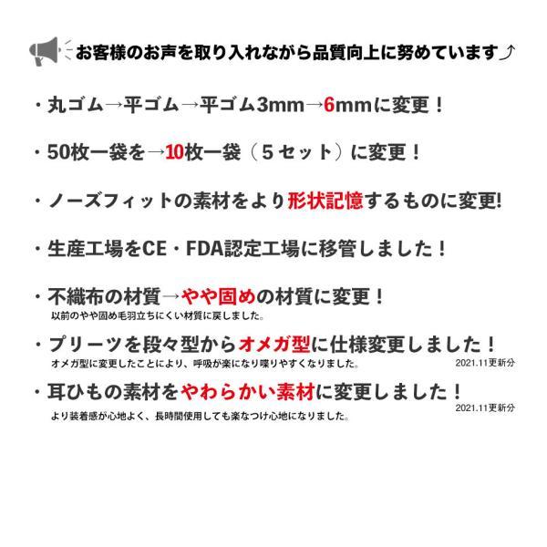 6mm平ゴム マスク【送料無料】99%カットフィルター 使い捨てマスク 50枚 セット/箱入り  ウィルス飛沫対策 大人用 ふつうサイズ マスク 3層構造 立体 不織布|doratyanhouko|05