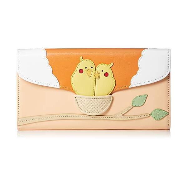 キタムラ財布飛び出す絵本のようなデザインPH0454鳥ユニーク個性的サーモン/オレンジ赤73421