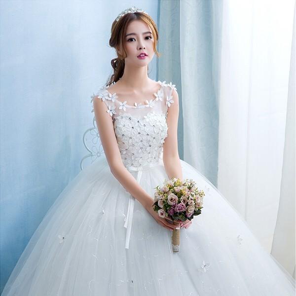 送料無料 ウェディングドレス/ドレス/結婚式/二次会/ホワイト/花嫁/ウェディング/エンパイア/白ドレス/ロングドレス/披露宴|doremoc