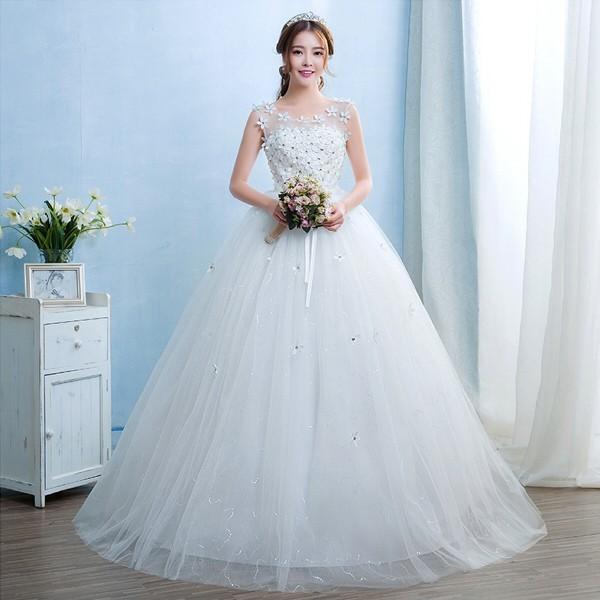 送料無料 ウェディングドレス/ドレス/結婚式/二次会/ホワイト/花嫁/ウェディング/エンパイア/白ドレス/ロングドレス/披露宴|doremoc|05