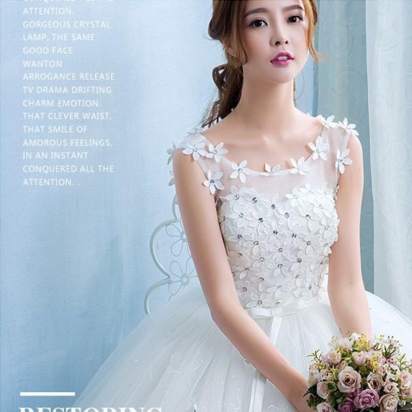 送料無料 ウェディングドレス/ドレス/結婚式/二次会/ホワイト/花嫁/ウェディング/エンパイア/白ドレス/ロングドレス/披露宴|doremoc|07