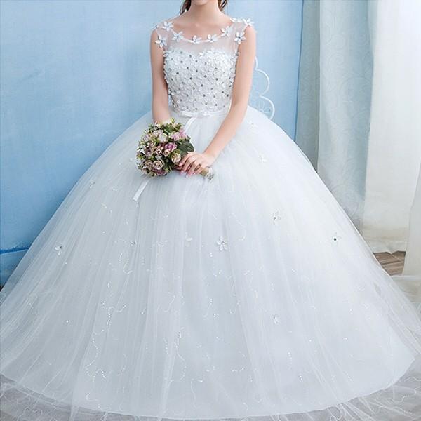 送料無料 ウェディングドレス/ドレス/結婚式/二次会/ホワイト/花嫁/ウェディング/エンパイア/白ドレス/ロングドレス/披露宴|doremoc|08
