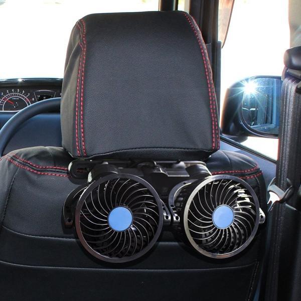 車載 扇風機 静音 強力 ツインファン 後部座席用 ヘッドレスト 12V 24V 風量調整 角度調整 シガー電源 小型 ミニ 汎用 車中泊 便利グッズ 防災グッズ|doresuup|07