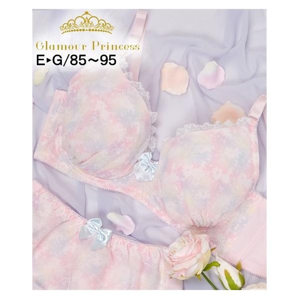 (E85-G95) 大きいサイズ グラマープリンセス ぼかしプリント ブラジャー ニッセン nissen かわいい 華やか|dorismieux-bynissen