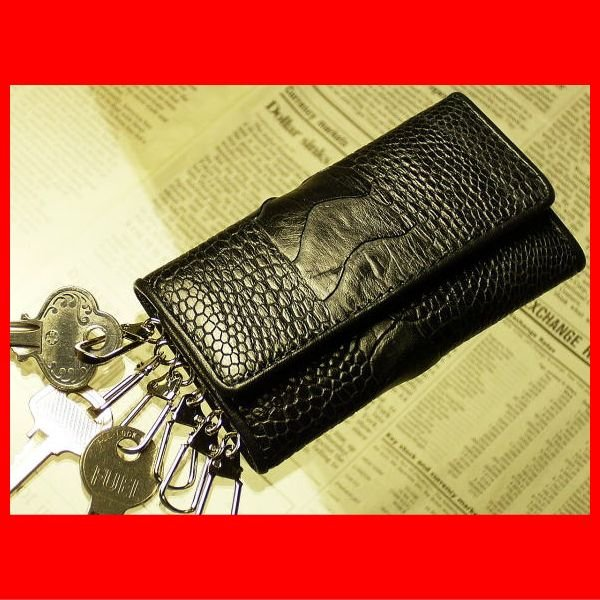 fa3599968287 本革 オーストレッグ (オーストリッチ脚の革) キーケース ブラック キーホルダー 黒| ...