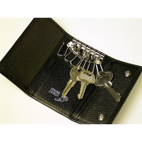 82856bd1583a ... 本革 オーストリッチ キーケース 一枚革 ブラック キーホルダー 黒