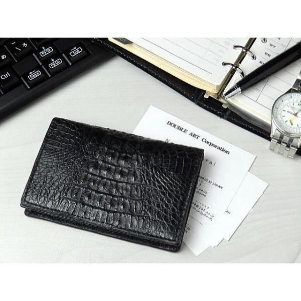 0c61e9a1ac4e 名刺入れ 本革 カイマンクロコダイル カードケース ブラック 黒|double-art ...