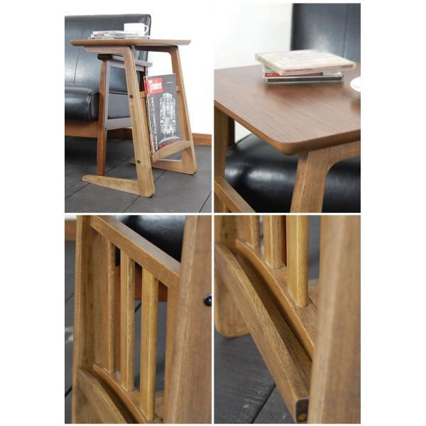 サイドテーブル ウォールナット 木製テーブル センターテーブル リビングテーブル レトロ アンティーク カフェインテリア double-oo 02