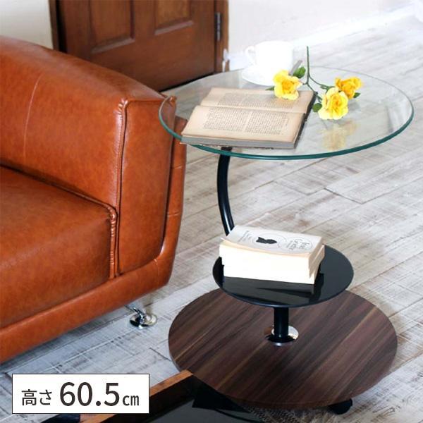 サイドテーブルキャスター付きおしゃれ丸型ガラスベッドサイドテーブル収納付き北欧丸テーブルソファテーブル