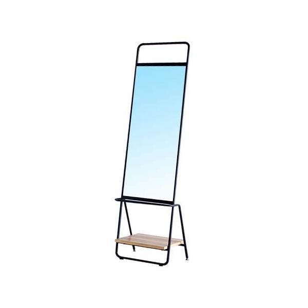 スタンドミラー 全身 おしゃれ スリム 鏡 大型 アイアン アンティーク 棚付き 全身用