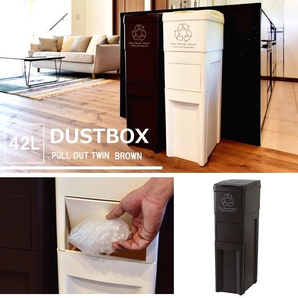 ゴミ箱 スリム キッチン ふた付き 42L ブラウン ダストボックス おしゃれ double