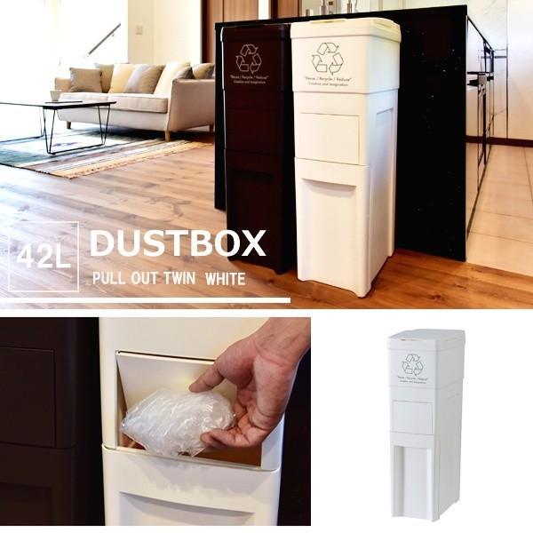 ゴミ箱 スリム キッチン ふた付き 42L ホワイト ダストボックス おしゃれ|double