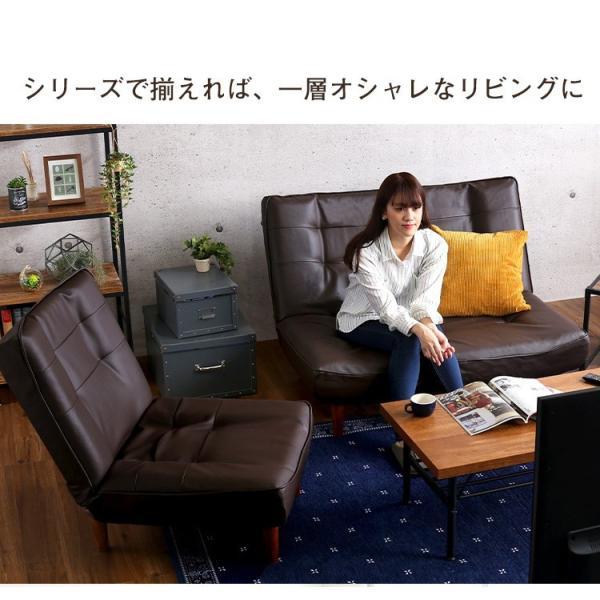 ハイバックソファー 1人掛け おしゃれ PVCレザー ポケットコイル使用 3段階リクライニング 日本製 double 13