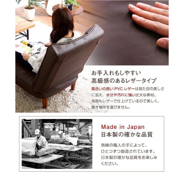 ハイバックソファー 1人掛け おしゃれ PVCレザー ポケットコイル使用 3段階リクライニング 日本製 double 05