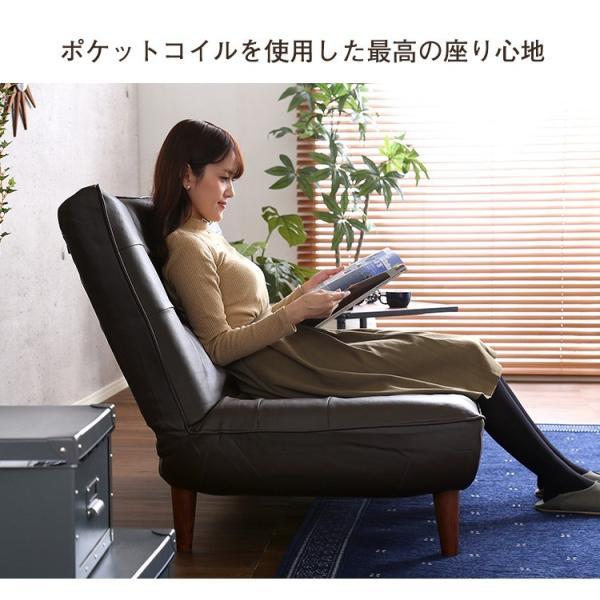 ハイバックソファー 1人掛け おしゃれ PVCレザー ポケットコイル使用 3段階リクライニング 日本製 double 06