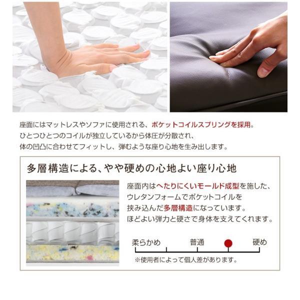 ハイバックソファー 1人掛け おしゃれ PVCレザー ポケットコイル使用 3段階リクライニング 日本製 double 07