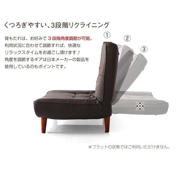 ハイバックソファー 1人掛け おしゃれ PVCレザー ポケットコイル使用 3段階リクライニング 日本製 double 09