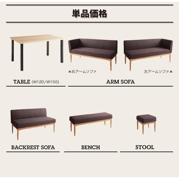 ダイニングテーブルセット 6人掛け 4点セット(テーブル120+ソファ+アームソファ+ベンチ) 右アーム モダンカフェ風 おしゃれ ダイニングテーブルセット|double|15