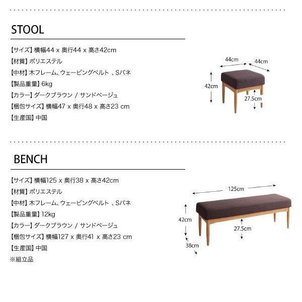 ダイニングテーブルセット 6人掛け 4点セット(テーブル120+ソファ+アームソファ+ベンチ) 右アーム モダンカフェ風 おしゃれ ダイニングテーブルセット|double|17