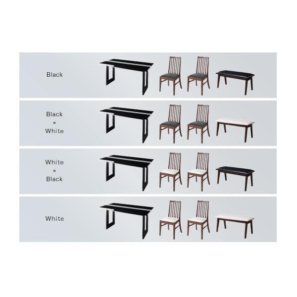 ダイニングテーブルセット 4人掛け おしゃれ 5点セット(テーブル150+チェア4脚) モダン ハイバック ブラック 黒 ホワイト 白|double|13