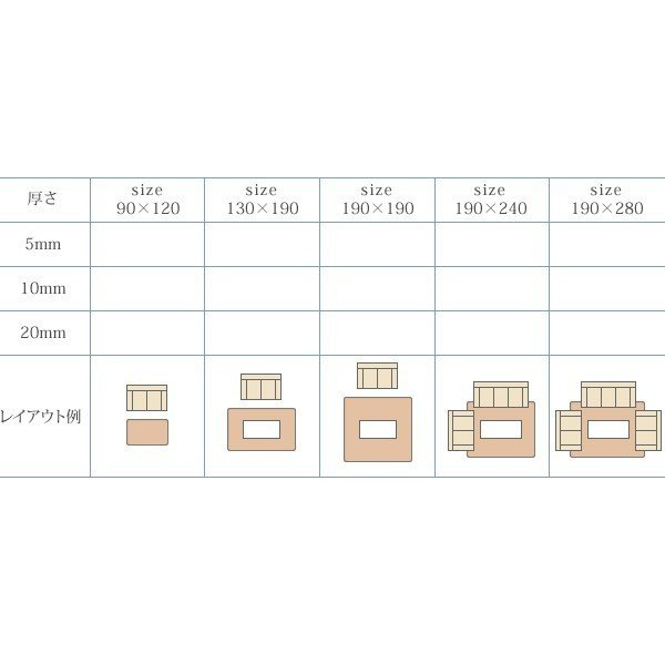 マイクロファイバーラグ 厚手 2畳 190×190 20mm厚 おしゃれ|double|17