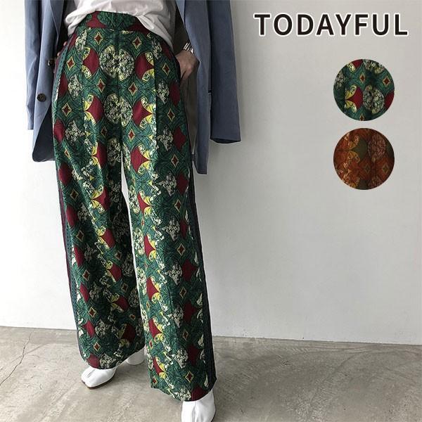 TODAYFUL トゥデイフル 20春夏 African Print Pants アフリカンプリントパンツ レディース ボトムス パンツ フルレングス ラフパンツ ハイウエスト ワイド