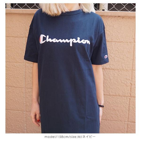 17113d69edb67 ... クーポン対象 チャンピオン Champion 通販 ウィメンズ ワンピース レディース ワンピース Tシャツワンピ カットソー 半袖  ドロップショルダー